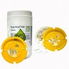 Дезинфицирующее средство Люир хлор таблетки, гранулы, таблетки с ПАВ с вкладышем иглосъемником для острого инструментария, самоклеющейся этикеткой